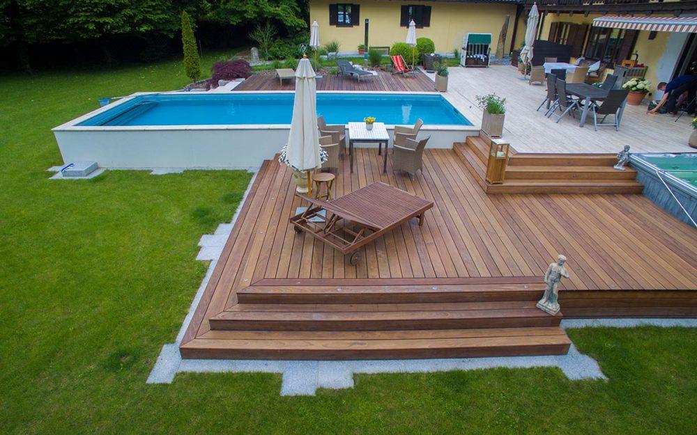 terrasse mit pool bauer und s hne. Black Bedroom Furniture Sets. Home Design Ideas